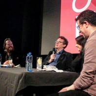 CinePunked's panel on Harold and Maude for the Takeover Film Festival, 2015. L to r: Robert JE Simpson, Aaron Hunter, Rachael Kelly, Conor Smyth
